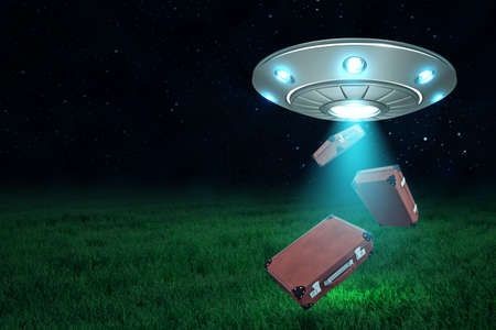 3d rendering of UFO above green field under night sky with three brown travel cases falling down from its open hatch.