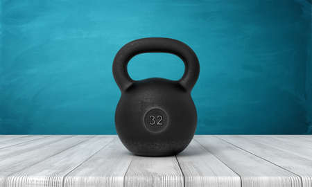 3d rendering of five 32 kg kettlebell on white wooden floor and dark turquoise background