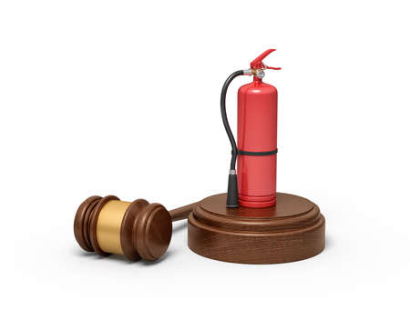 3d rendering of red fire extinguisher standing on sounding block with gavel lying beside.