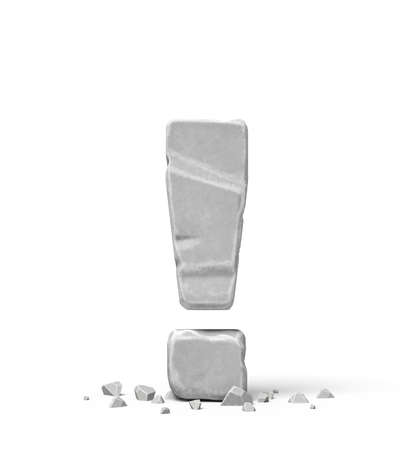 3d rendering of stone concrete exclamation mark