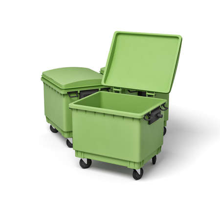 3d rendering of green trash bins
