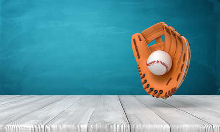3d rendering of orange baseball glove with a baseball suspended in air above wooden surface near blue wall with copy space. Stok Fotoğraf