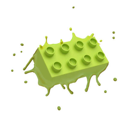 3d rendering of green lego piece melting isolated on white background. Digital art. Objects and materials. Games and toys.