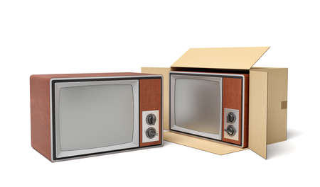 3d rendering of retro TV set in carton box. Getting rid of old things. Garage sale. Old technologies.