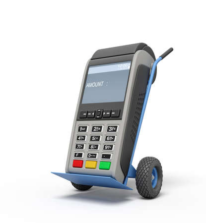 3d rendering of blue hand truck with grey point-of-sale terminal on top. Banque d'images - 132098877