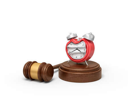 3d rendering of smashed broken alarn clock on round wooden block and brown wooden gavel. Old fashioned device. Final deadline. Time expired. Imagens