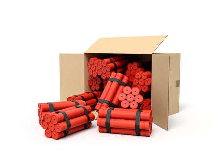 3d rendering of tnt dynamite sticks in carton box