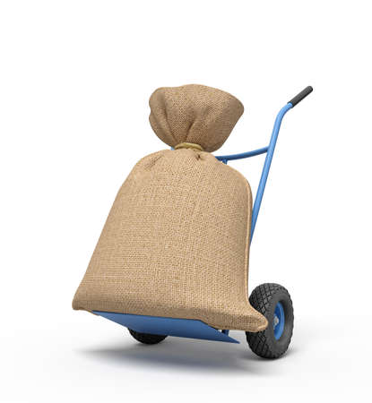 3d rendering of blue hand truck with big canvas money bag on top. 写真素材