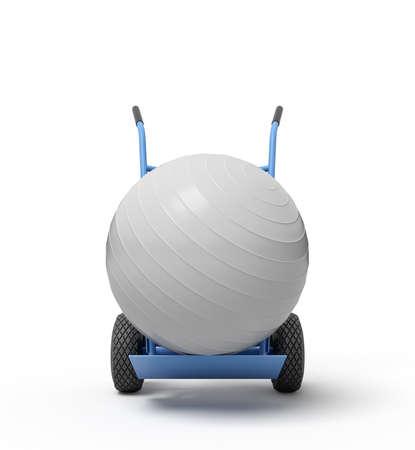 3d rendering of white yoga exercise ball on blue hand truck.