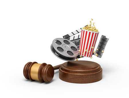 3d rendering of film reel, popcorn bucket, and clapperboard suspended in air above sound block with gavel beside. Stok Fotoğraf