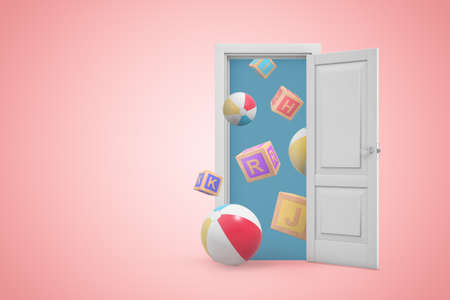 3d rendering of open white door on gradient pink background and many windballs and ABC blocks flying from doorway.