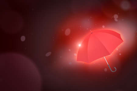 3d rendering of red umbrella on dark neon background. Digital art. Weather and seasons. Objects and materials.