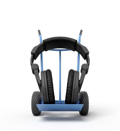 3d rendering of black headphones on a hand truck Archivio Fotografico