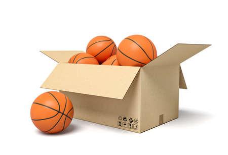 3d rendering of basketballs in carton box. 写真素材