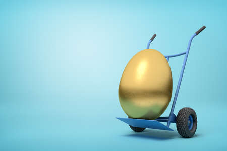 3d rendering of a golden egg on a hand truck on blue background