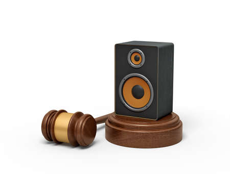 3d rendering of audio loudspeaker on round wooden block and brown wooden gavel. Technologies and communication. Digital art. Music and sound.