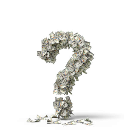 3d rendering of question mark made up of dollar banknotes