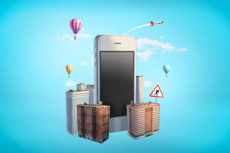 3d rendering of gigantic smartphone standing amid high-rise buildings on blue background. 版權商用圖片