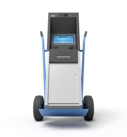 3d rendering of blue hand truck with grey and white ATM on top.