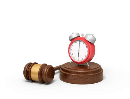 3d rendering of red alarm clock standing on sounding block with judge gavel lying beside. 스톡 콘텐츠