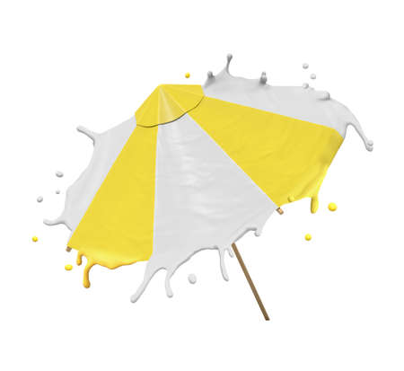 3d rendering of yellow and white striped beach umbrella with edges melting, isolated on white background. Objects and shapes. 3d design. Summer vacation.