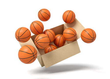 3d rendering of cardboard box full of basketballs in mid-air.