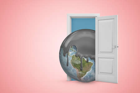 3d rendering of planet Earth covered in black liquid on top, emerging from open door on pink copyspace background.