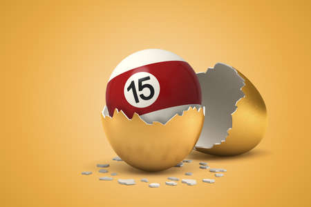 3d rendering of pool and billiard ball hatching out of golden egg on yellow background. Digital art. Risk and reward. Table games. Stockfoto