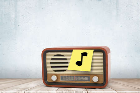 3d close-up rendering of retro radio set with yellow post note on, on which someone drew black musical note.