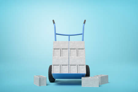 3d rendering of stack of grey hollow bricks on blue hand truck with several bricks lying on ground on light-blue background.