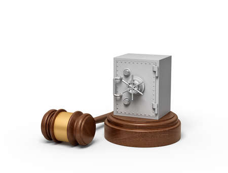 3d rendering of metal bank safe on round wooden block and brown wooden gavel
