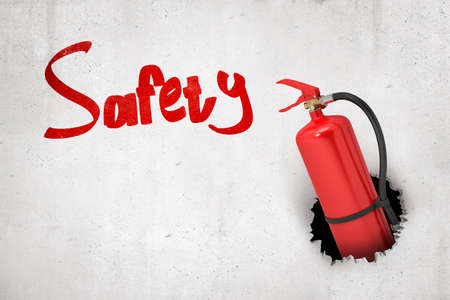 3d rendering of red fire extinguisher breaking white wall with red Safety sign on white background
