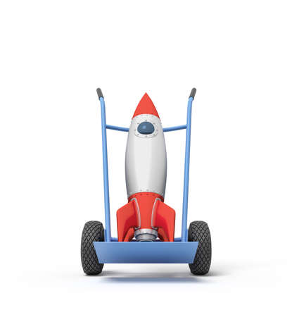 3d rendering of toy space rocket on blue hand truck.