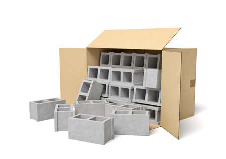 3d rendering of cardboard box lying sidelong with gray hollow bricks inside and some near box. 免版税图像