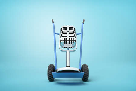 3d rendering of a vintage microphone on a hand truck on blue background