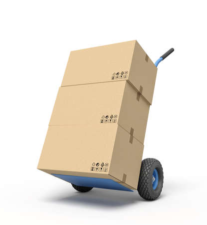 3d rendering of cardboard boxes on a hand truck Stockfoto