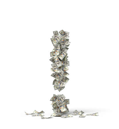 3d rendering of exclamation mark made up of dollar banknotes. Zdjęcie Seryjne - 133460959
