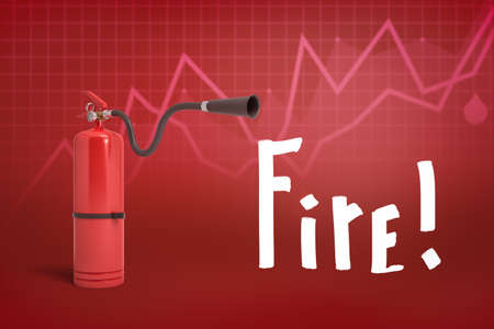 3d rendering of red foam fire extinguisher with Fire sign on red diagram background