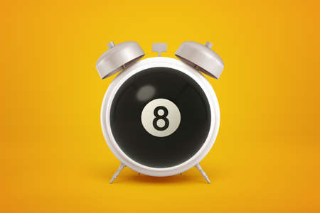 3d close-up rendering of light-grey alarm clock with big black snooker ball with number 8 on it instead of clockface on yellow background. Reklamní fotografie