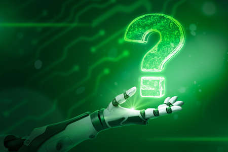 Robotic hand and neon question mark on green background