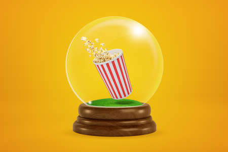 3d rendering of christmas snow globe with popcorn bucket inside on yellow background