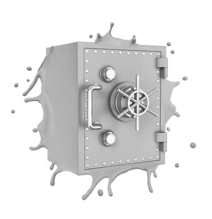 3d close-up rendering of light grey melting metal safe isolated on white background.