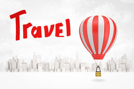 3d rendering of white red hot air balloon with red Travel sign on white city skyscrapers background