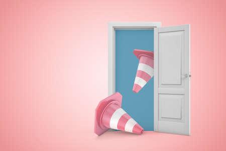 3d rendering of two pink road cones emerging from open door on pink copyspace background.