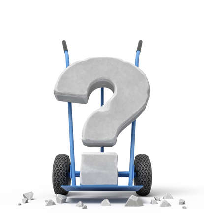 3d rendering of large stone question mark on blue hand truck with big stone crumbs.