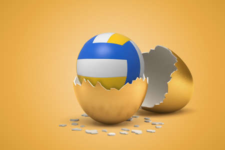 3d rendering of new yellow, blue and white volleyball that just hatched out from golden egg.