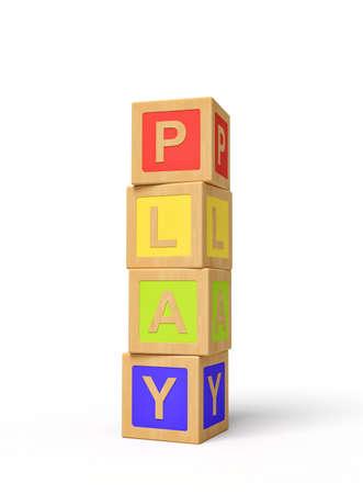 3d rendering of alphabet toy blocks. Digital art. Children playtime. Toys and games.