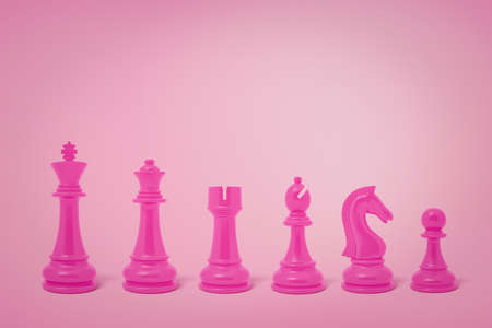 3d rendering of pink chess pieces on pink background