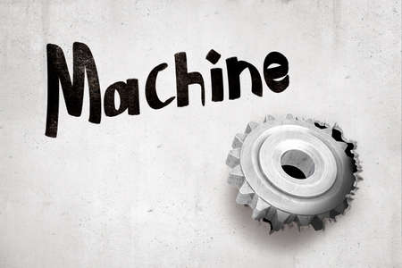 3d rendering of concrete wall with title Machine and metal cog wheel that has broken hole in the wall. Stock Photo