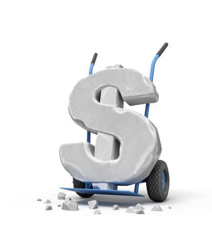 3d rendering of large stone dollar symbol on blue hand truck with big stone crumbs.